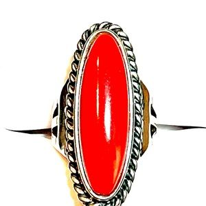 Sterling Coral Ring Stamped